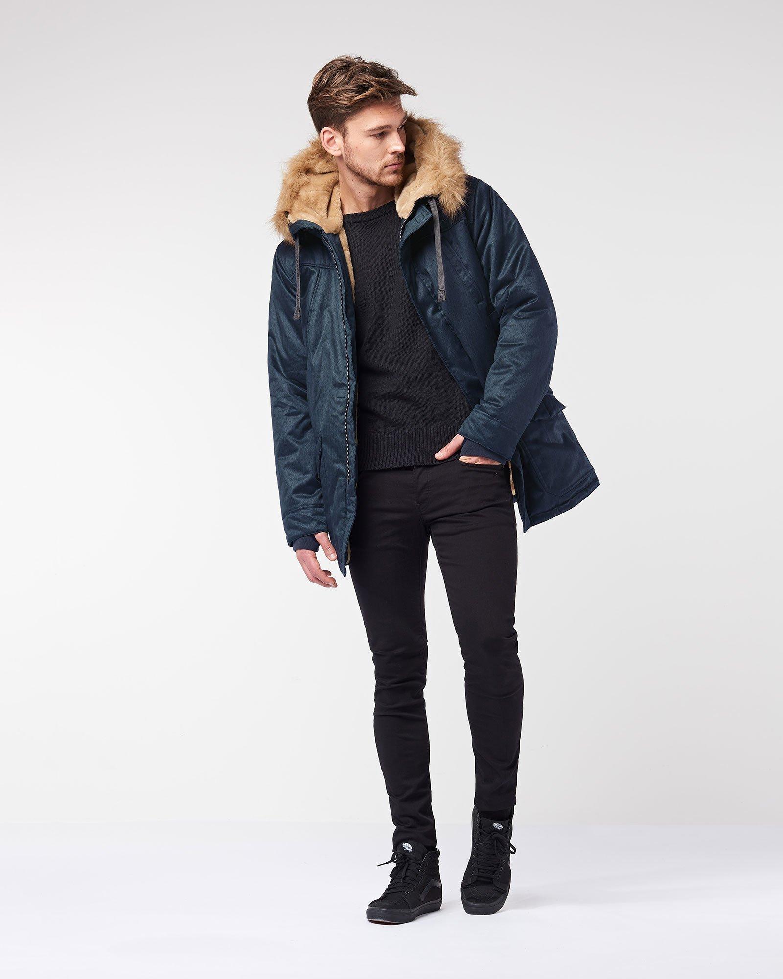 blue mens vegan coat hoodlamb