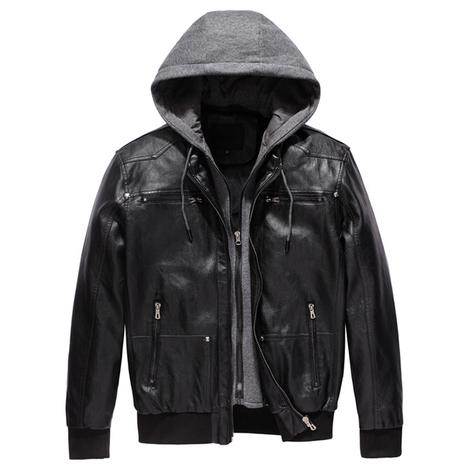 black vegan pu leather jacket