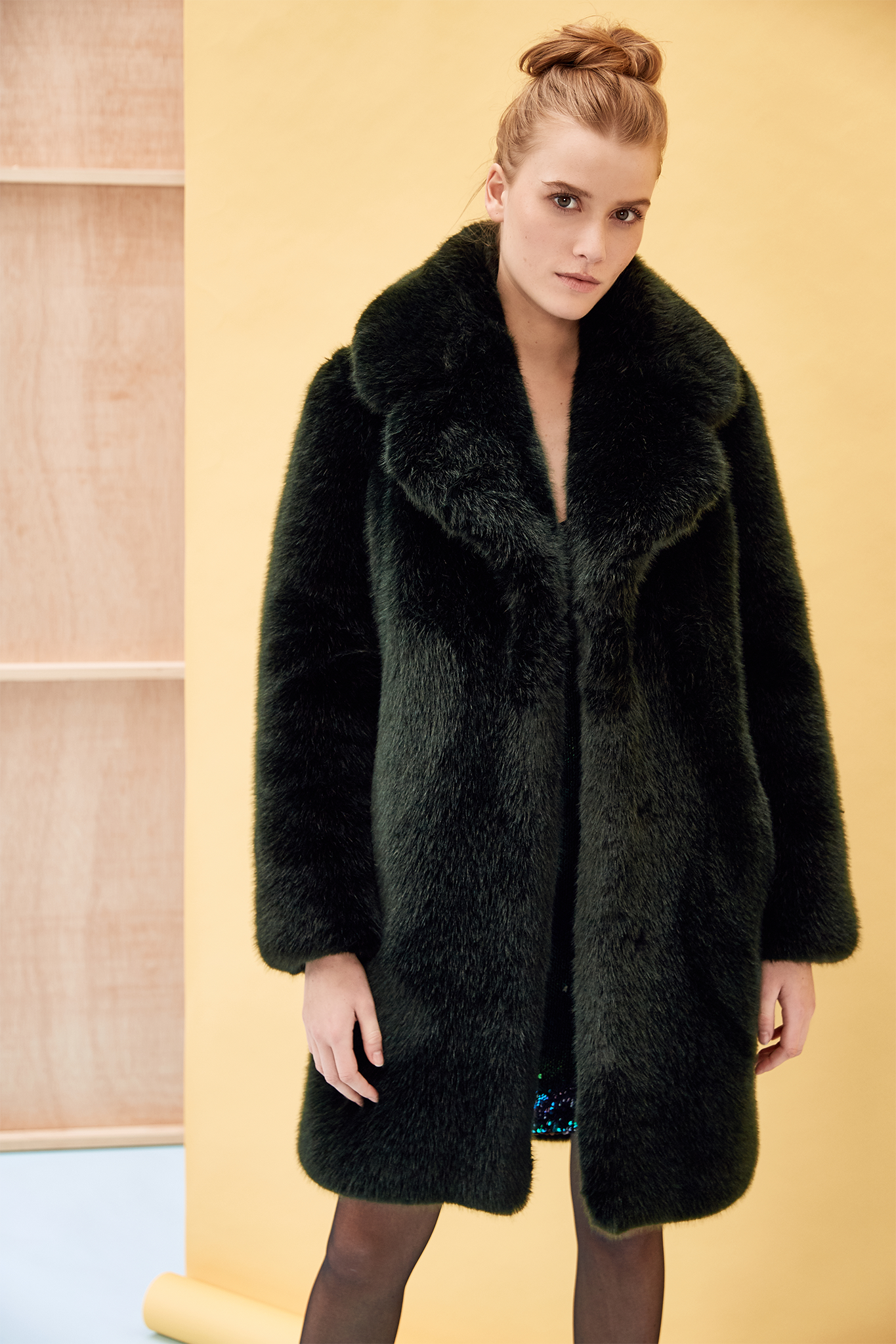 dark green faux fur coat