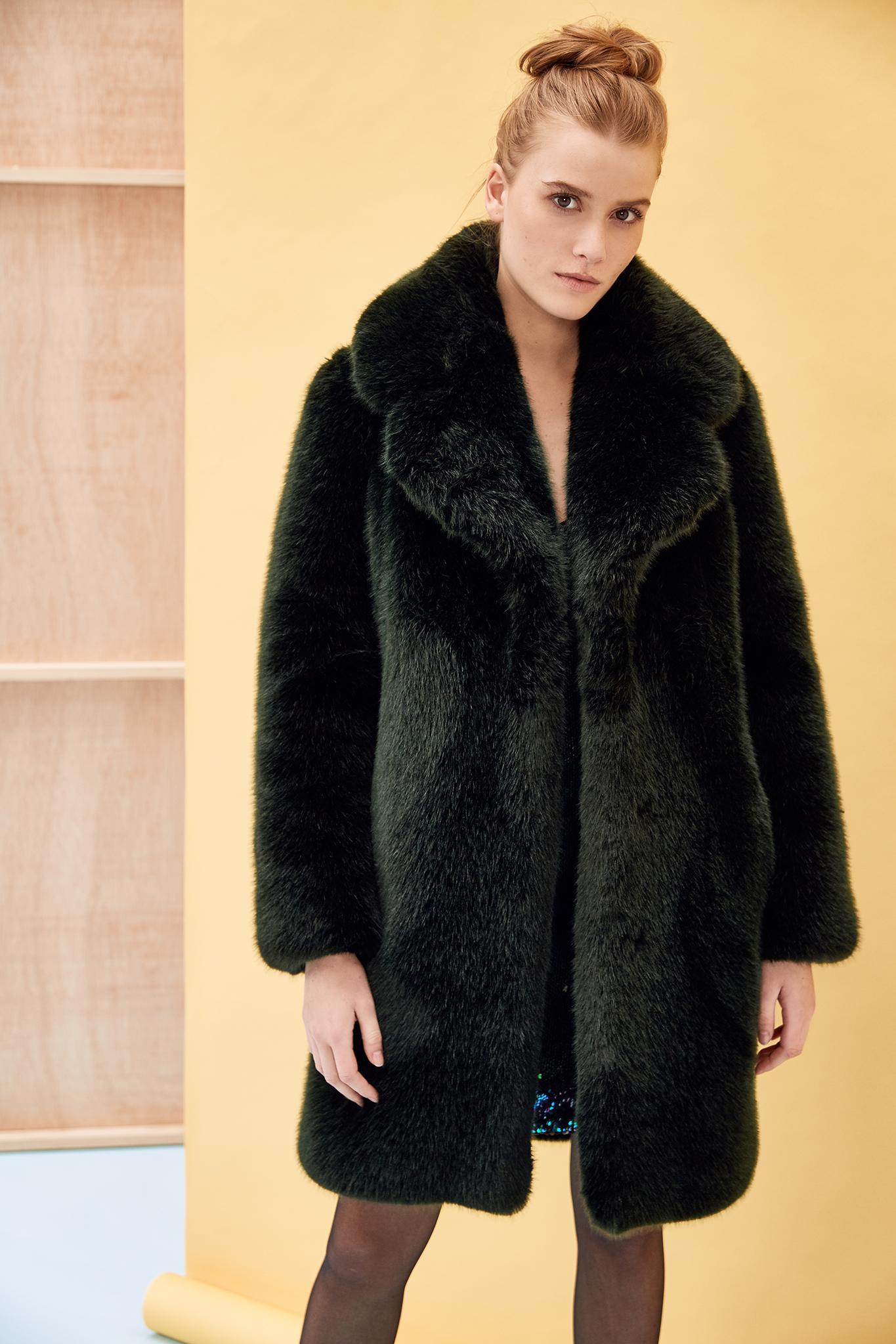dark green faux fur coat